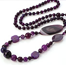 Fashion Lange Style Facet Rond Ovaal Flower Purple Agaat kralen ketting Strand