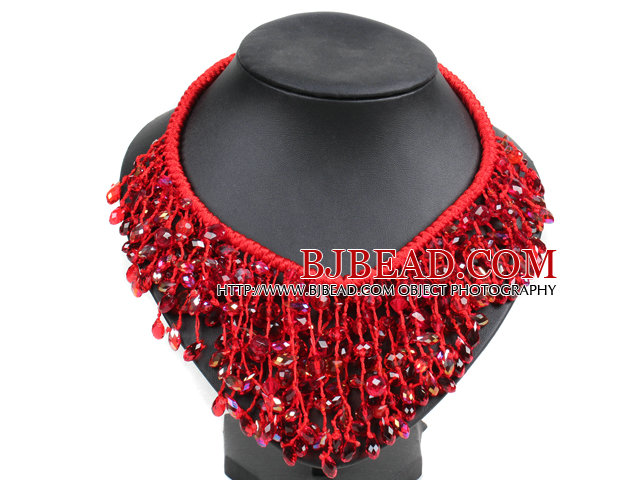 Marvelous Statement Red Series Crystal Hand-Knitted Bib Necklace