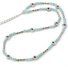 Fashion Round Amazon Stone Beaded Necklace With Tibet Silver Tube Heart Charm And Extendable Chain