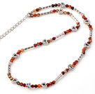 Fashion 4mm Faceted Round Multi Color Agate Beaded Necklace With Tibet Silver Tube Heart Charm And Extendable Chain