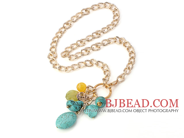 Fashion Chain Loop Style Multi Blue Turquoise Agate And Serpentine Jade Pendant Necklace