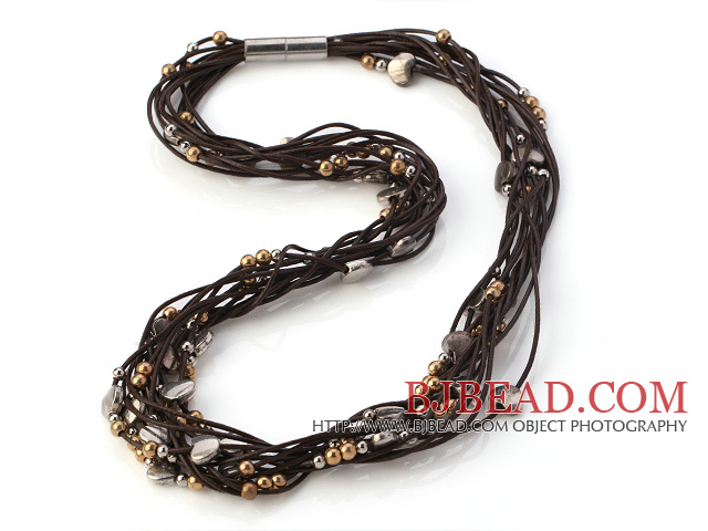 Classic Multi Strands Hand-Knotted Silver Metal Heart And Golden Beads Brown Leather Necklace With Magnetic Clasp