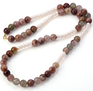 Fashion 6-7mm Natural White Freshwater Pearl And Multi Colorful Quartz Necklace