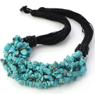 Elegant Multi Strands Multilayer 6-7mm Blue Turquoise Chips Necklace under $ 40
