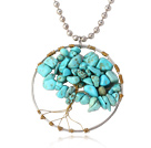 Pretty Wired Crochet Blue Turquoise Chips Life Tree Pendant Necklace With Silver Beads Strand