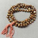New Arrival Natural Brown Purple Potato Pearl Necklace WithTassel (Also can be Bracelet)
