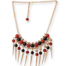 Charming 8-10mm A Grade Red Black Agate And Golden Spike Loop Chain Necklace
