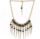 Charming 8-10mm Faceted Phoenix Stone And Golden Spike Loop Chain Necklace