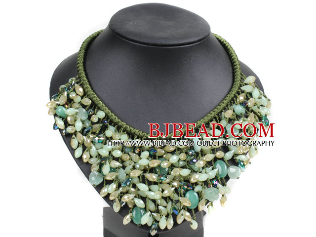 Marvelous Statement Green Series Aventurine Jade-Like Crystal Beads Hand-Knitted Bib Necklace
