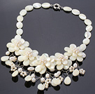 Elegant Layer White Lip Shell And Pearl Flower Wired Crochet Party Necklace under $ 40