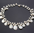 Fantastic 6-7mm White Freshwater Pearl And Fan Shape White Shell Hand-Knotted Branch Necklace under $ 40