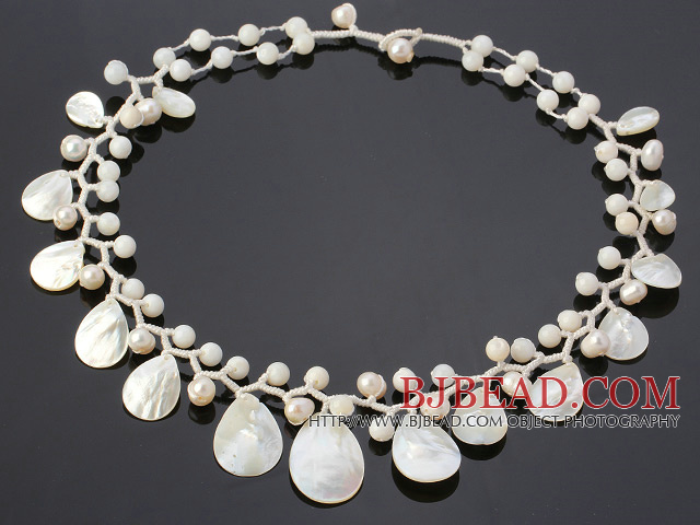 Fantastic 6-7mm White Freshwater Pearl And Fan Shape White Shell Hand-Knotted Branch Necklace