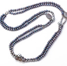Fashion Long Design Double Strand Black And Gray Freshwater Pearl And Gray Agate Beads Necklace,Sweater Necklace