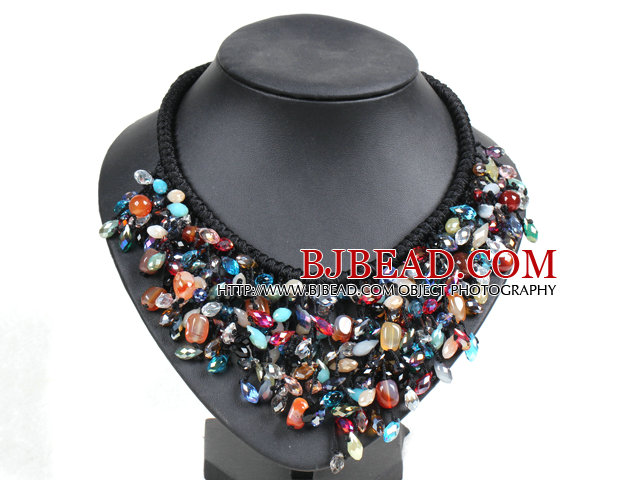 Marvelous Statement Multi Color Crystal Agate Beads Hand-Knitted Bib Necklace
