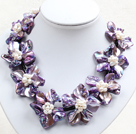 Beautiful Purple Series 9 Natural White Pearl Shell Flowers Leather Necklace