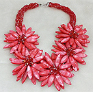 Fashion High Quality Multi Strands Twisted Red Crystal And Red Shell Flower Party Necklace