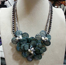 Beautiful Natural Double Strands Grey Freshwater Pearl And Shell Flower Party Necklace