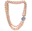 Fashion Three Strands 9-10mm Natural Pink Rice Shape Freshwater Pearl Necklace With Shell Flower Clasp (No Box)
