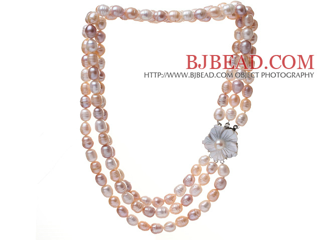 """red shell and freshwater pearl flower necklace 18/""""nature wholesale beads"""