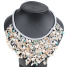Marvelous Statement Pink Series Natural White Freshwater Pearl Jade-Like Crystal Hand-Knitted Bib Necklace