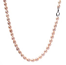Classic Single Strand 9- 10mm Natural Pink Rice Shape Freshwater Pearl Necklace