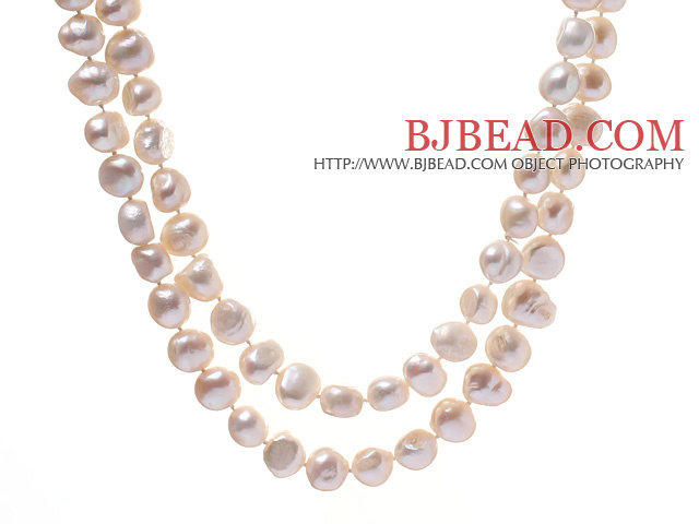 Elegant 8-12mm Long Style White Potato And Blister Pearl Beaded Strand Necklace