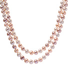 Classic Long Style 8-9mm Natural White Pink Freshwater Pearl Beaded Strand Necklace