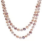 Classic 7-8mm Long Design Natural White Pink And Purple Freshwater Pearl Strand Necklace