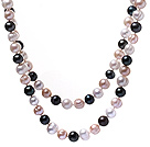 Classic Long Design 9-10mm Natural White Pink And Black Freshwater Pearl Strand Necklace