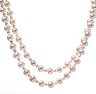 Classic Long Design Mixed Size Natural White Freshwater Pearl Beaded Strand Necklace