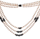 Classic Three Strands 5-6mm Natural White Freshwater Pearl And Tungsten Steel Stone Necklace