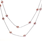 Nice Long Style 6-7mm Natural Pink Freshwater Pearl Necklace With Silver Color Chains