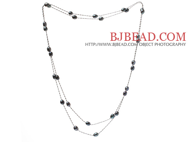 Nice Long Style 6-7mm Natural Black Freshwater Pearl Necklace With Silver Color Chains