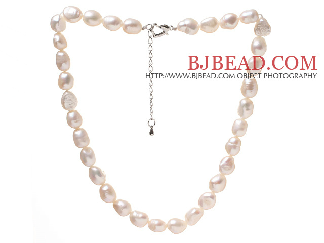 Fashion Single Strand 9-10mm Natural White Baroque Freshwater Pearl Beaded Necklace With Heart Clasp (No Box)