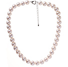 Fashion A Grade 11-12mm Natural White Freshwater Pearl Beaded Necklace With Heart Clasp (No Box)