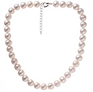 Fashion Single Strand 11-12mm Natural White Freshwater Pearl Beaded Necklace With Heart Clasp (No Box)