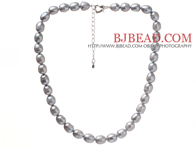 Fashion Single Strand 8-9mm Natural Gray Freshwater Pearl Beaded Necklace With Heart Clasp (No Box)