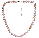 Fashion A Grade 9-9.5mm Natural Multi Color Freshwater Pearl Beaded Necklace With Heart Clasp (No Box)