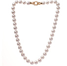 Fashion A Grade 9.5-10mm Natural White Freshwater Pearl Beaded Necklace With Golden Rhinestone Clasp (No Box)
