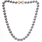 Fashion A Grade 10-10.5mm Natural Gray Freshwater Pearl Beaded Necklace With Golden Rhinestone Clasp (No Box)