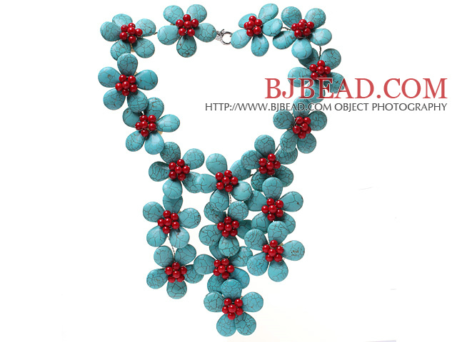 Classic New Design Fan Shape Blue Turquoise And Round Red Coral Flower Pendant Party Necklace