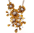 Fashion Twisted White Pearl Strands And Layer Yellow Shell Flower Pendant Party Necklace