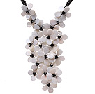 Fashion Twisted Round Black Agate Strands And Layer White Shell Black Crystal Flower Pendant Party Necklace