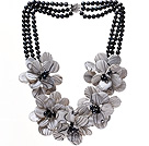 Fashion Three Strands Black Freshwater Pearl And Layer Painted Shell Flower Party Necklace