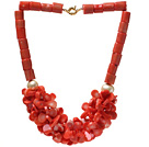 Fashion Cylinder And Multi Orange Coral Flower Cluster Strand Party Necklace With Golden Moonight Clasp under $ 40