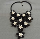 Popular Statement Style Natural White Freshwater Pearl Black Agate Flower Party Necklace