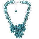 Fashion New Design High Ladder Shape Multi Blue Turquoise Layer Flower Pendant Party Necklace under $ 40
