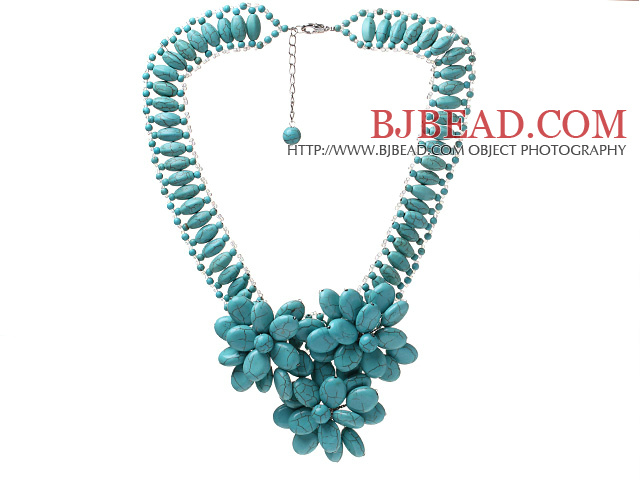 Fashion New Design High Ladder Shape Multi Blue Turquoise Layer Flower Pendant Party Necklace