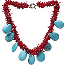 Fashion Cluster Red Coral Branch And Teardrop Blue Turquoise Necklace With Moonight Clasp under $ 40