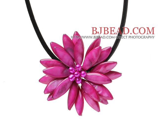 Classic Natural Rose Series Freshwater Pearl Shell Flower Party Necklace With Black Leather